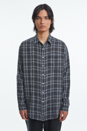 Shirt non binary linen check bleached black