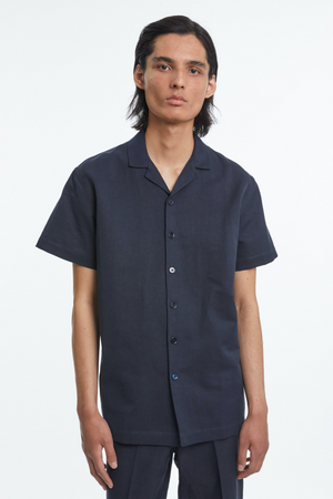 Shirt Notch SS cotton linen dark navy