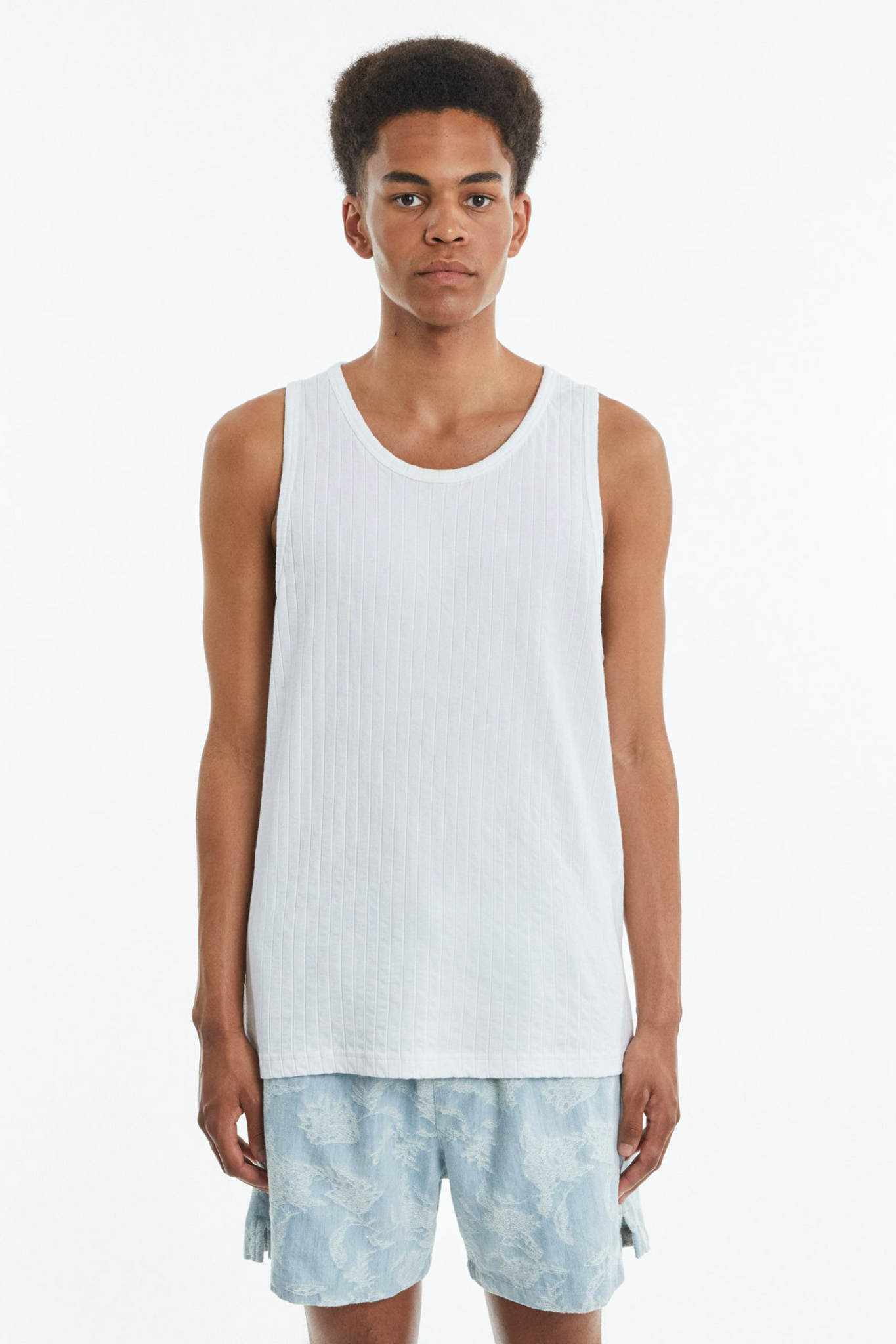 Ribbed tank white