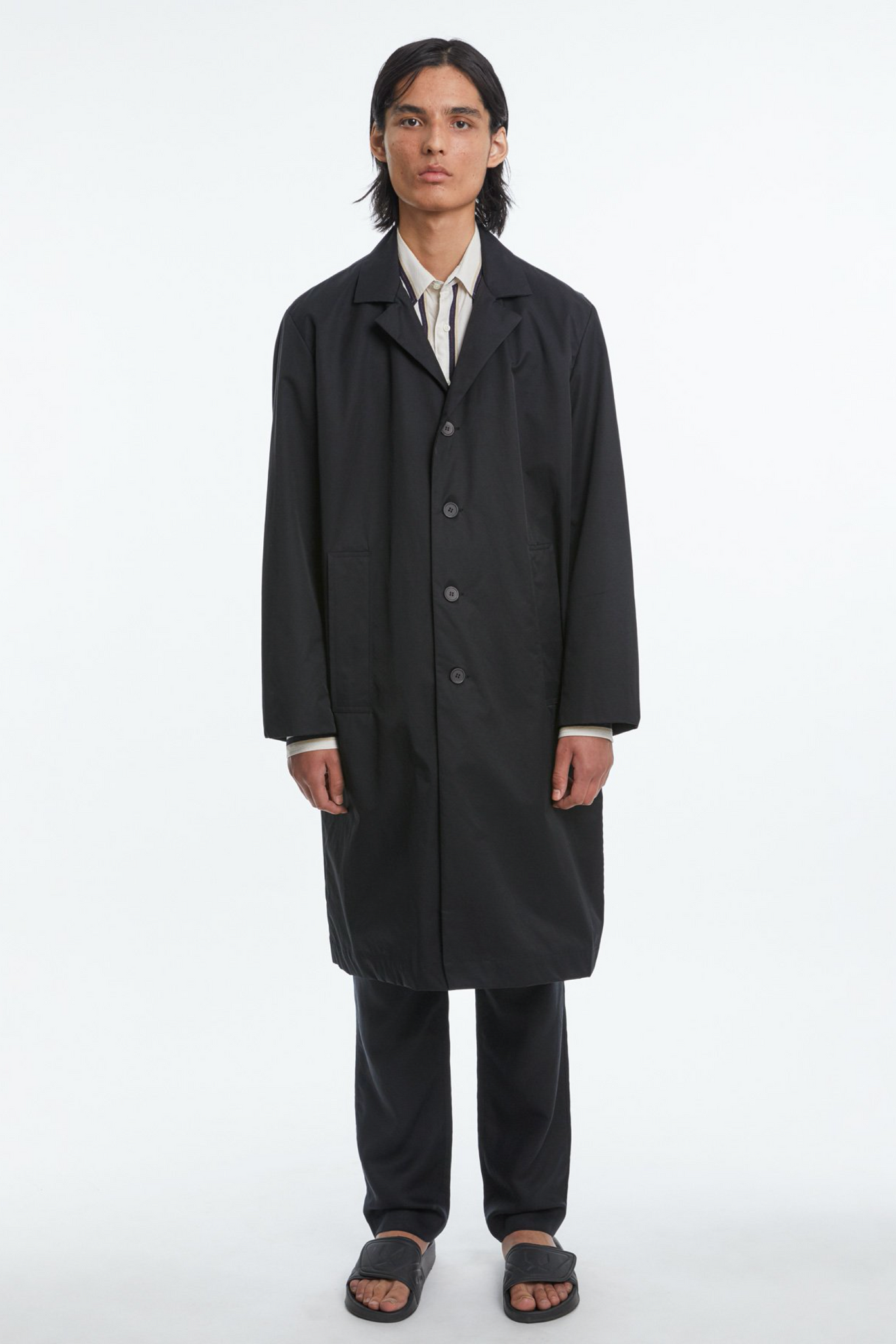 Belted overcoat black