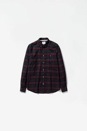 Anton brushed flannel check eegplant brown