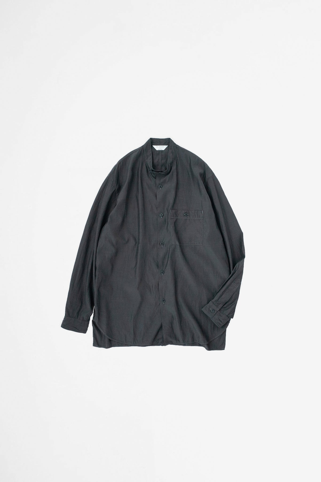Band collar shirt ink black