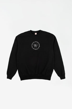 Black Wellness logo crewneck black/whiteprint