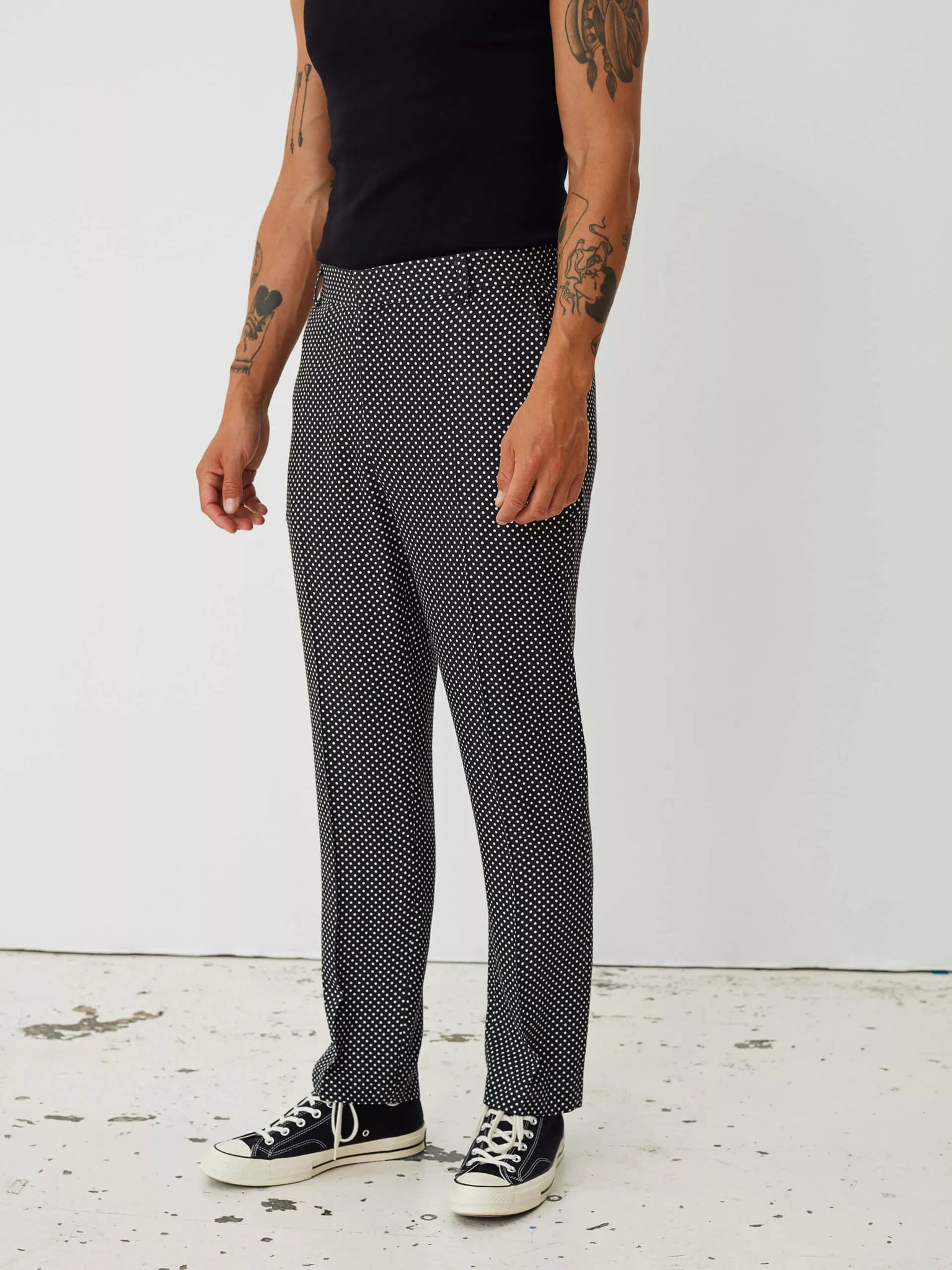 Blade trousers black with white dots