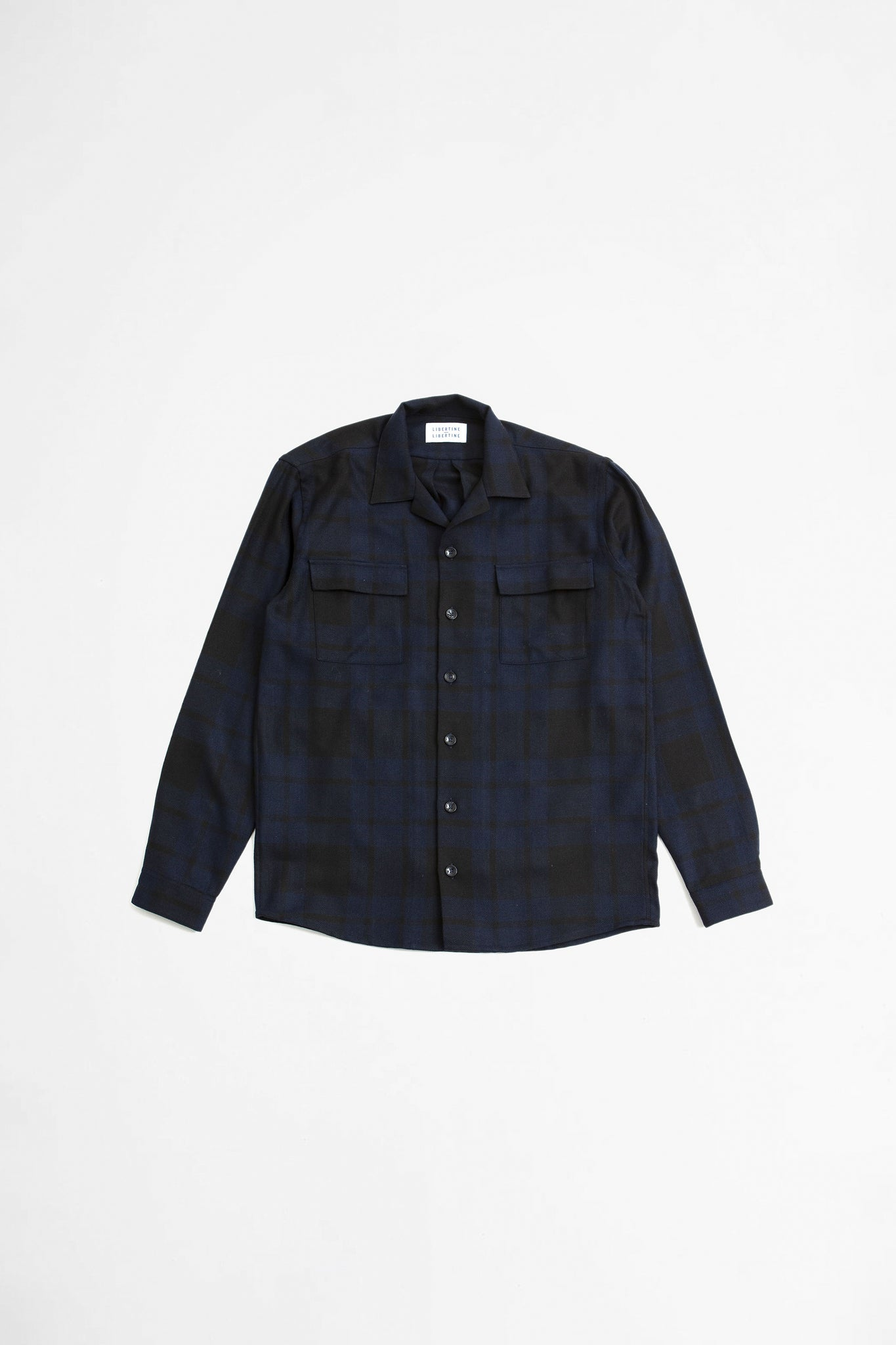 Cave pocket shirt dark navy check