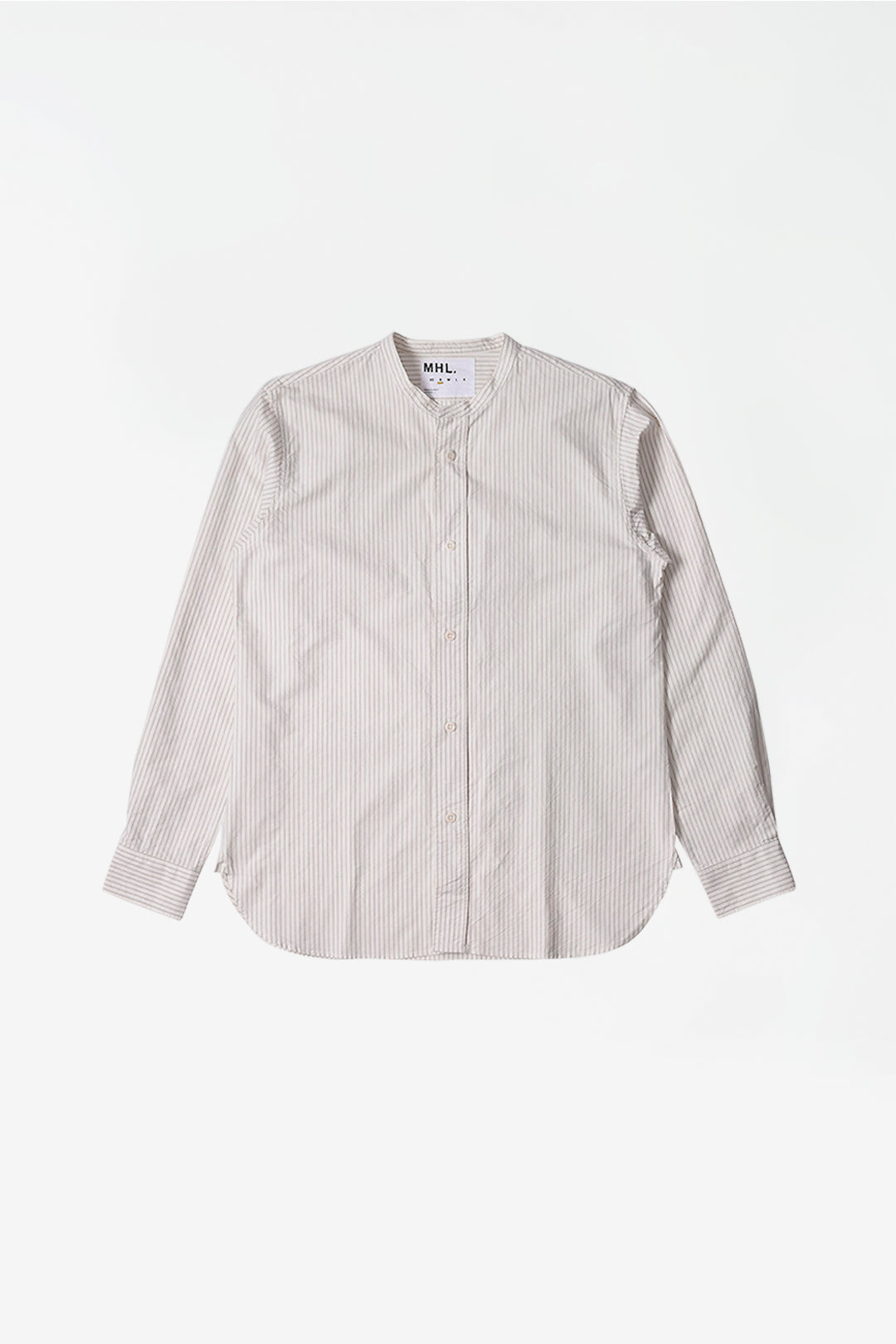 Collarless shirt stripe offwhite/stone
