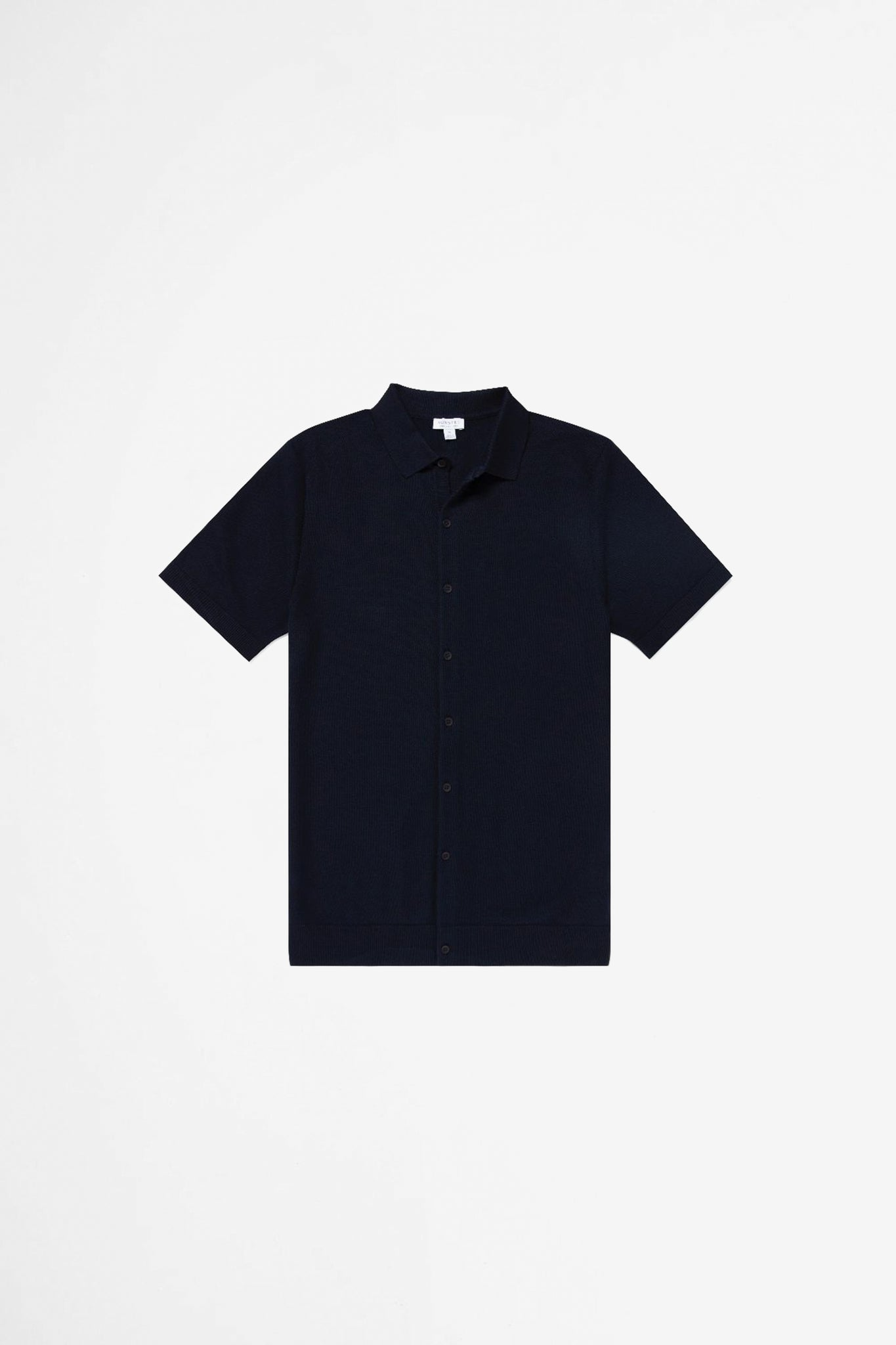 Cotton fine texture knitted shirt navy