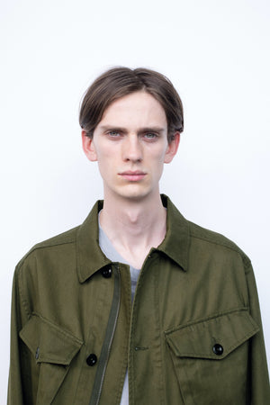 Cropped army jacket japanese drill khaki