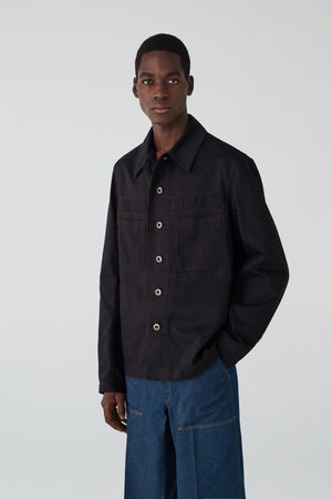 Denim workwear overshirt black