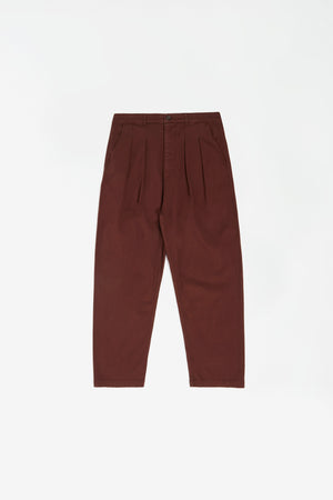 Double pleat pant fine weave raisin