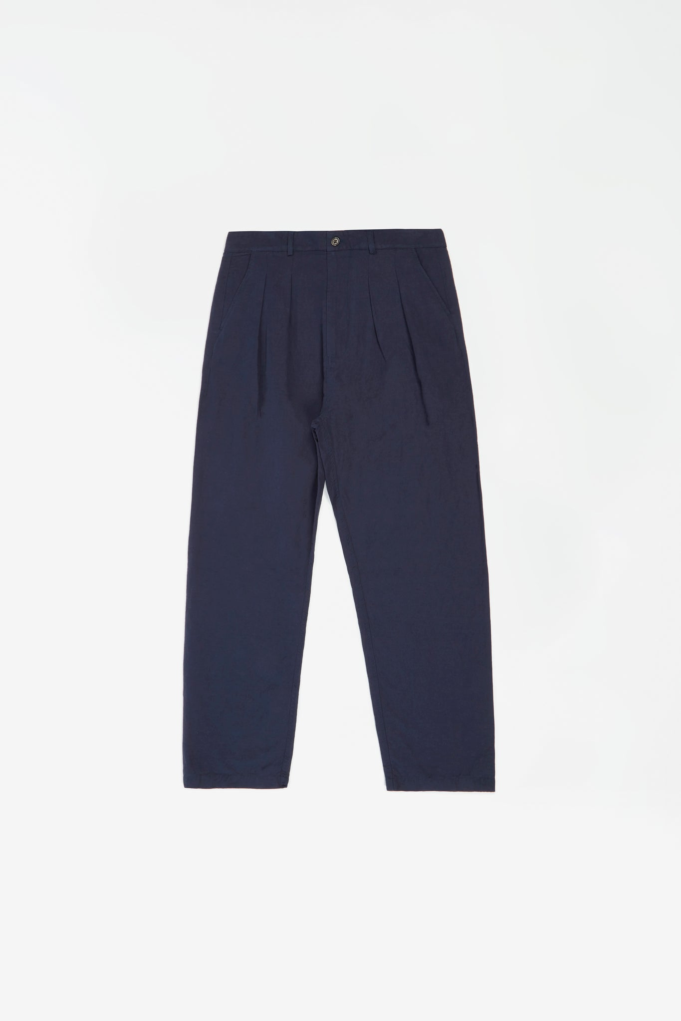 Double pleat pant linen navy