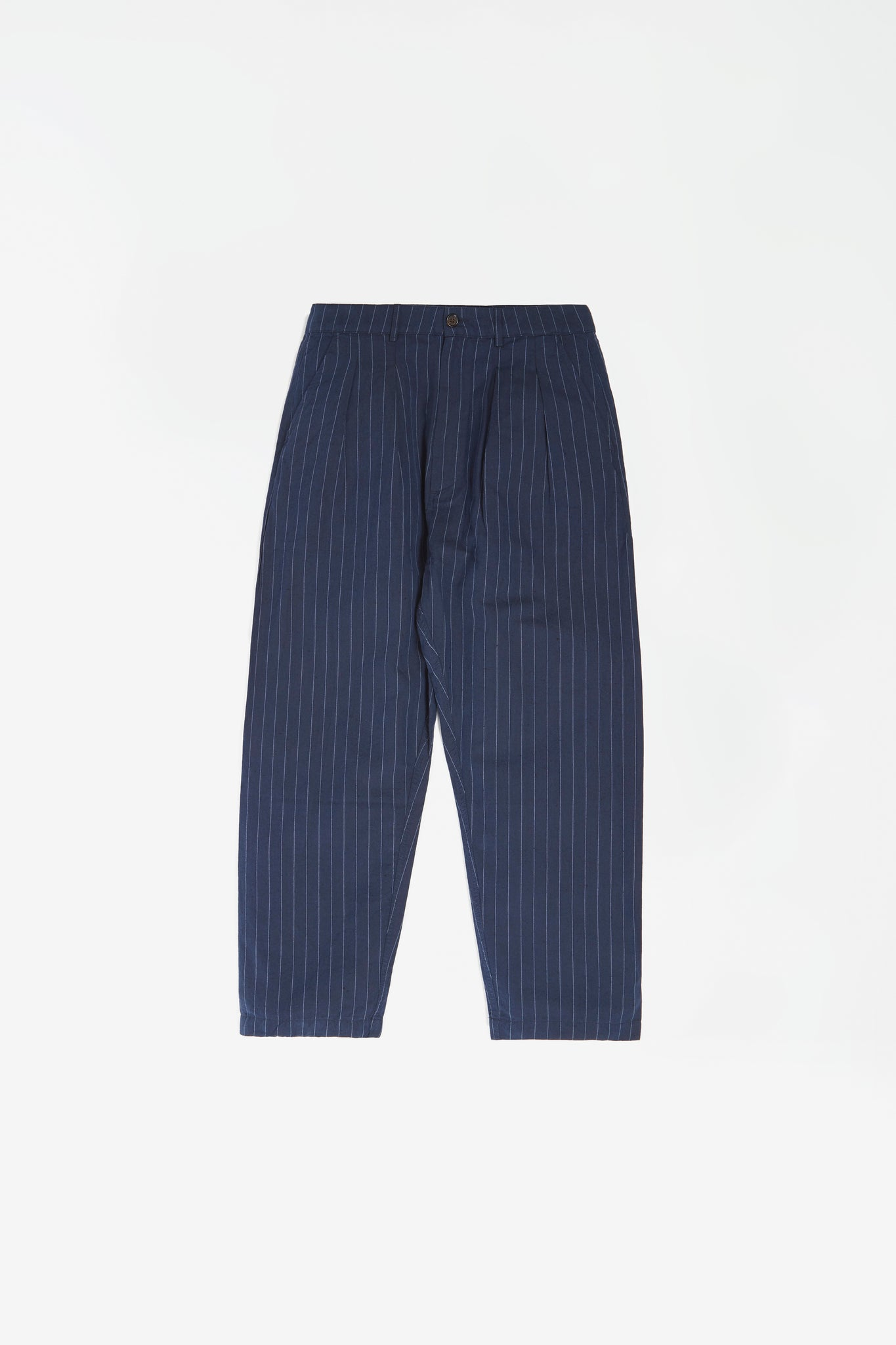 Double pleat pant linen stripe navy
