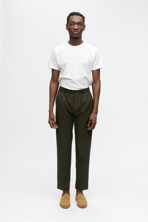 Elasticated wide trousers misty moss