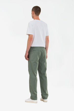 Evald canvas work pants moss green
