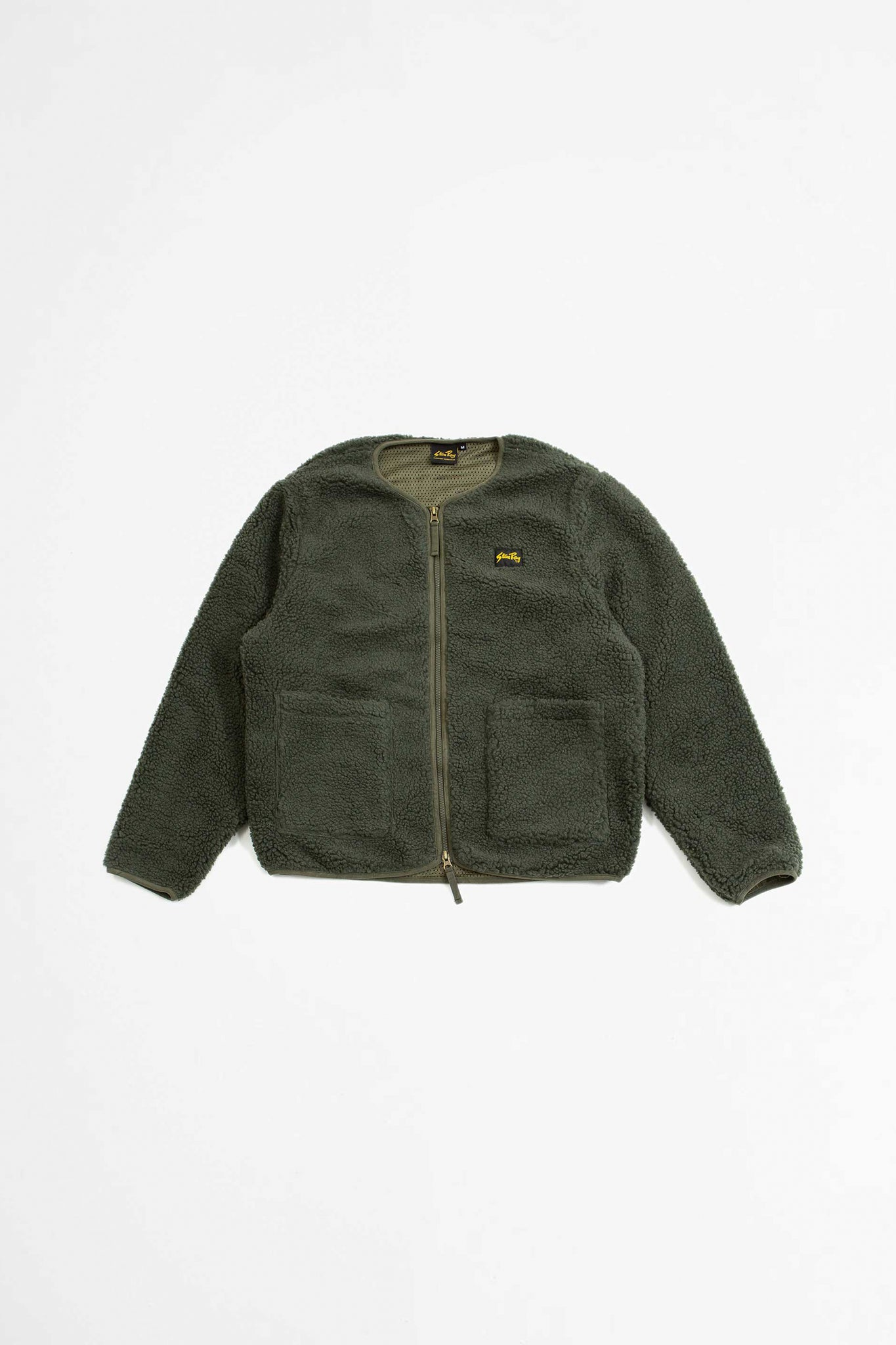 Fleece layer cardigan olive