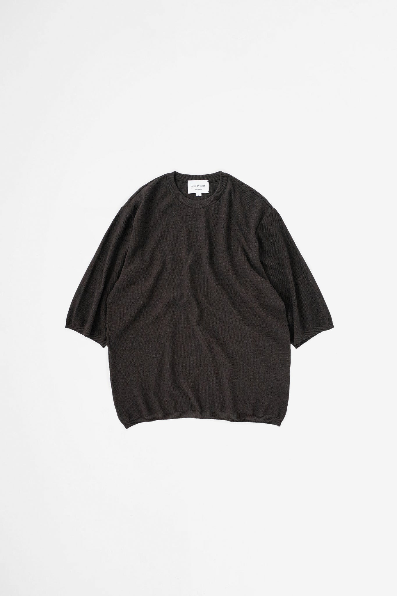 Half sleeve knit t-shirt brown