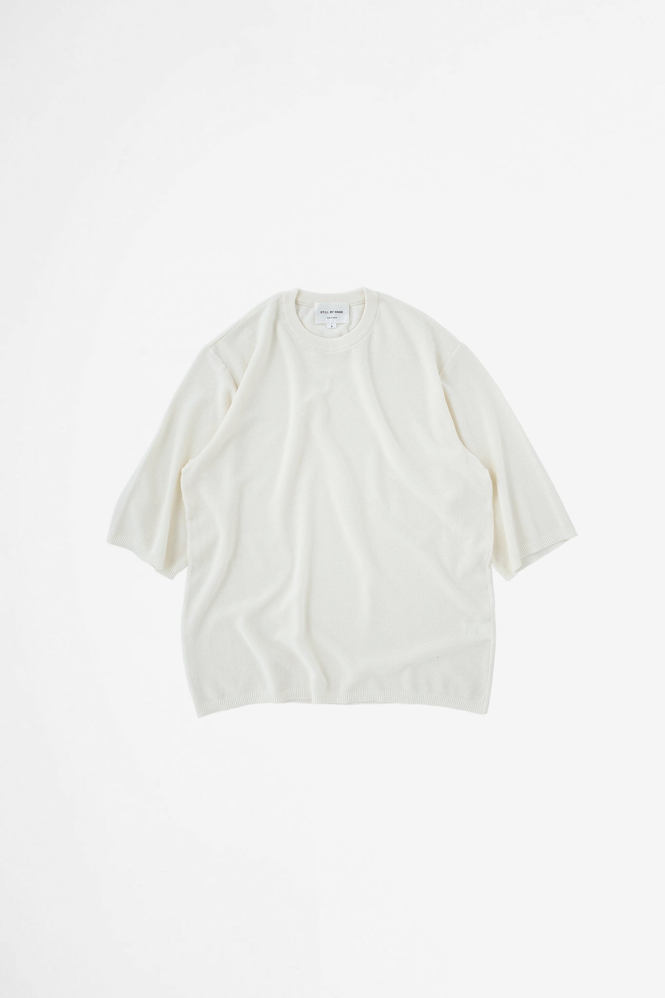 Half sleeve knit t-shirt off white