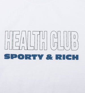 Health club t-shirt white/black & blue print