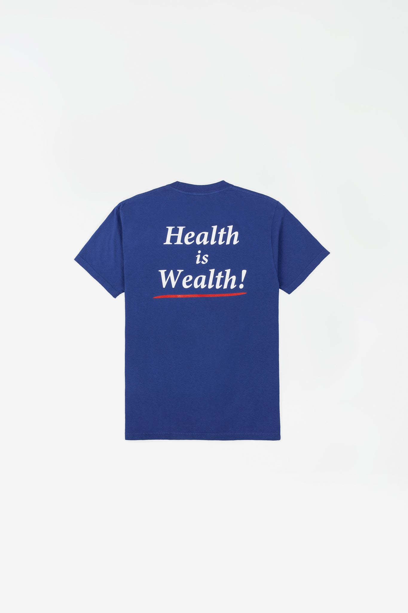 Health is Wealth t-shirt lapis/white print