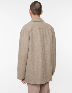 Jacket melton wool dark beige melange