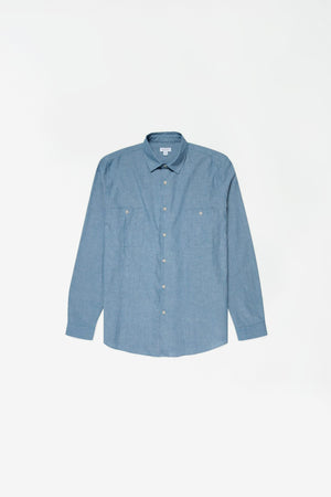 Japanese selvedge chambray overshirt blue