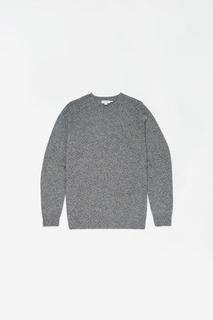 Lambswool crew neck jumper mid grey melange