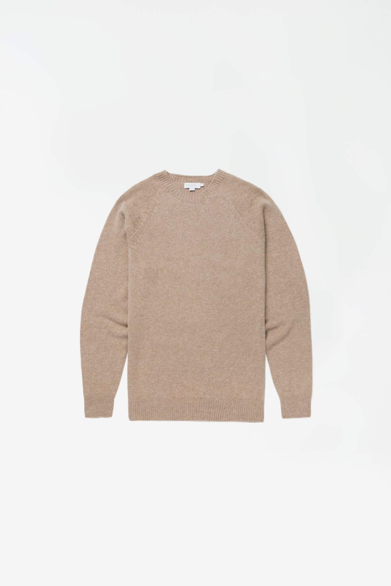 Lambswool crew neck sweater oatmeal melange
