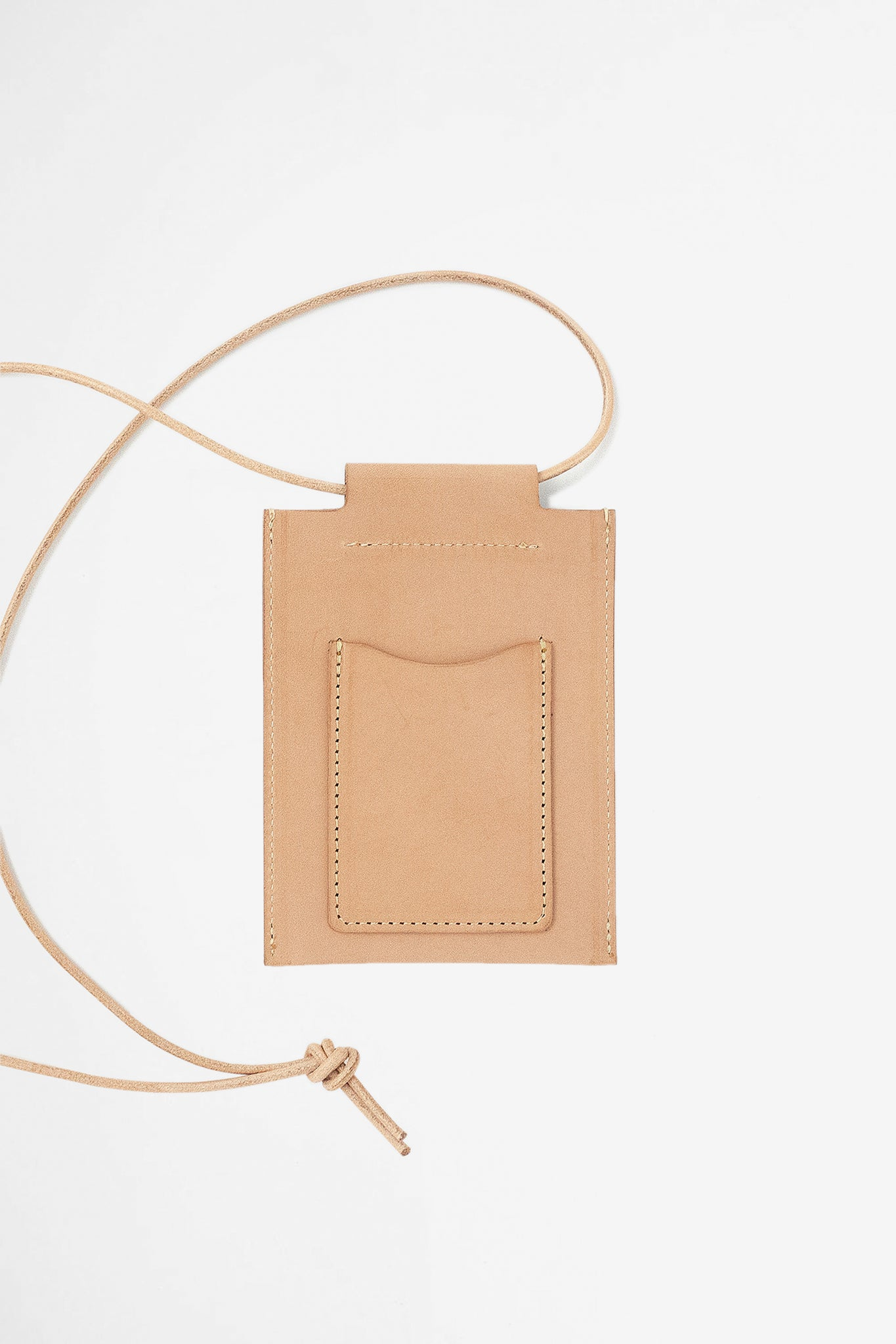 Leather square pouch tan