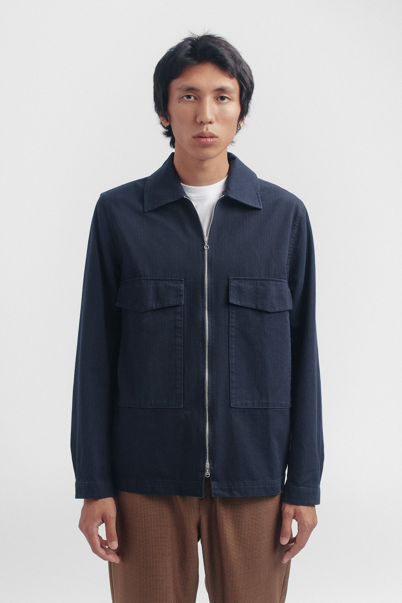 Lir overshirt navy herringbone