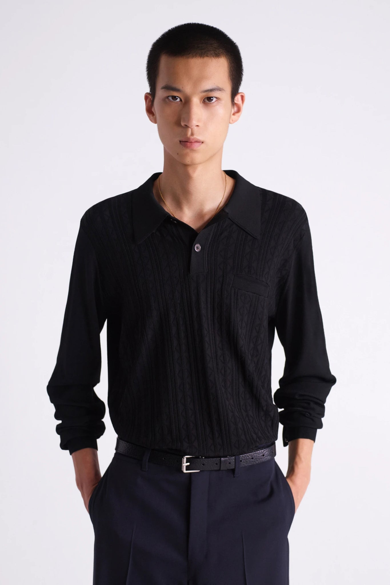 Long sleeves knitted polo black