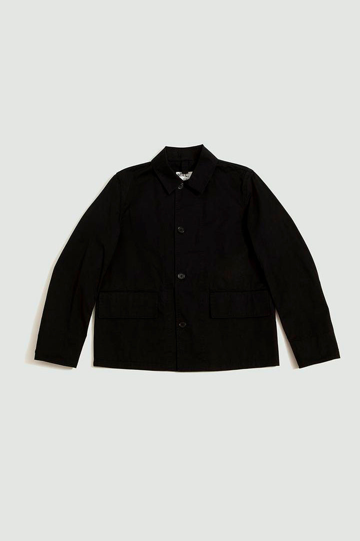 Flap pocket jacket cotton black