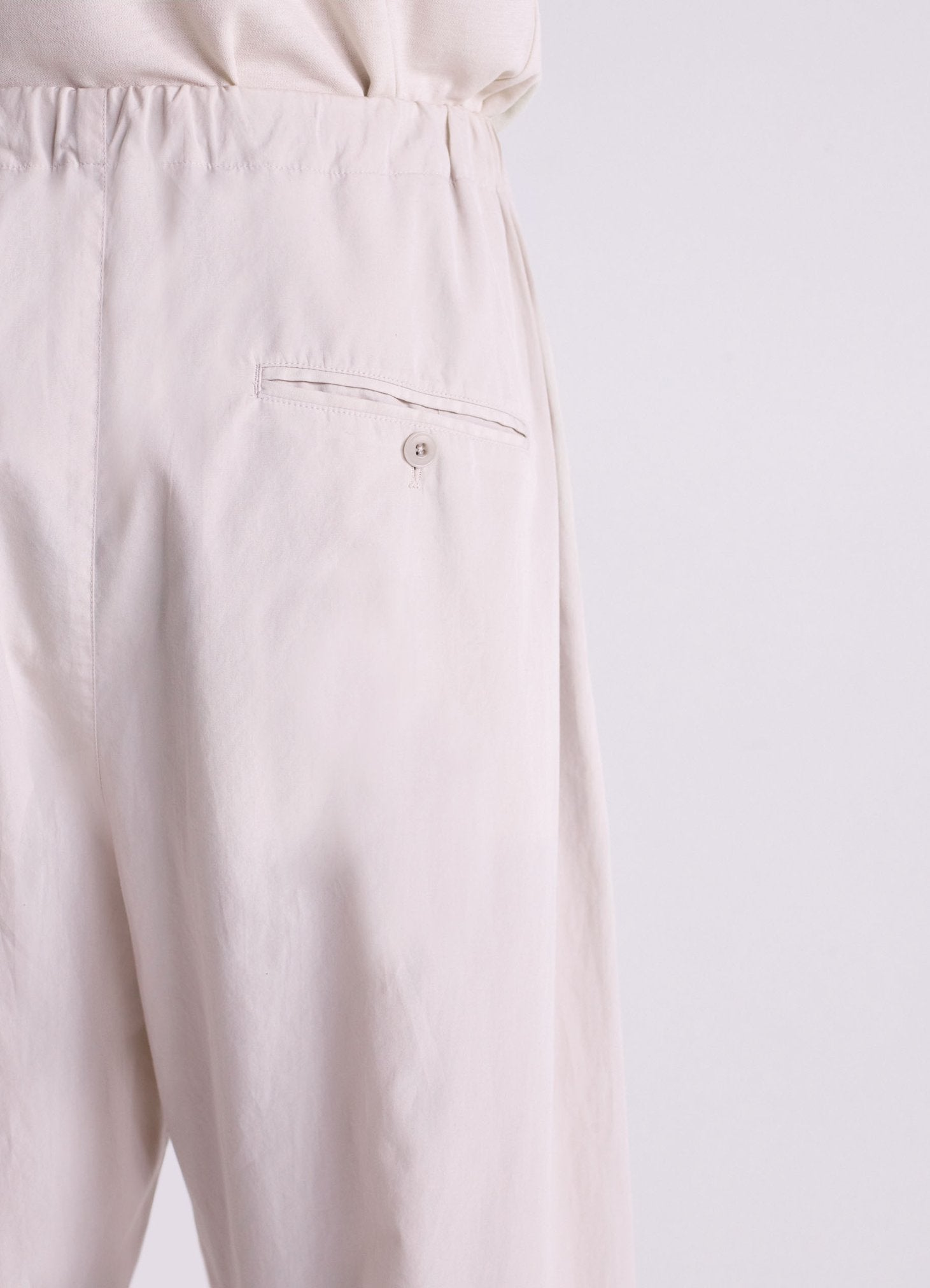 Pleated drawstrings pants ice grey