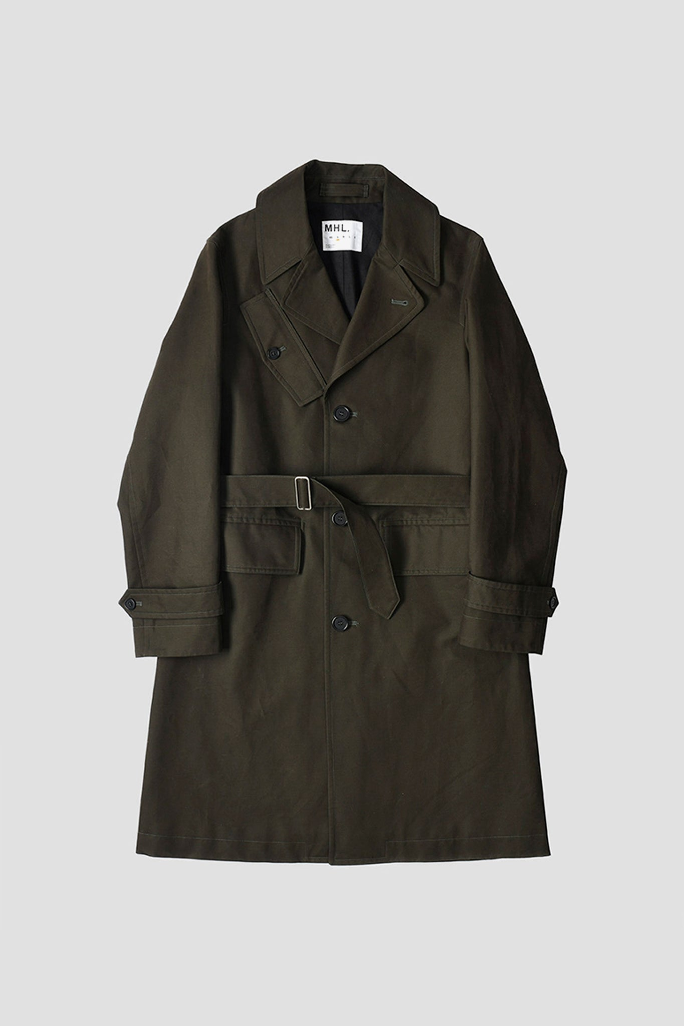 Military overcoat washed dense cotton dark olive