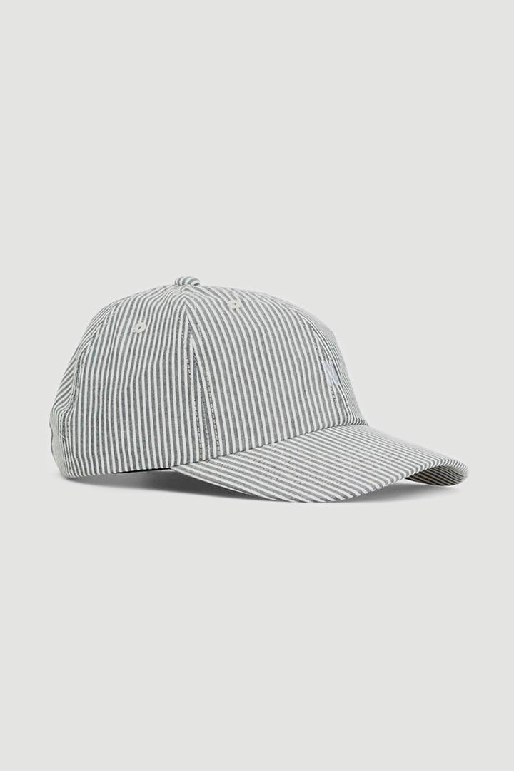 Seersucker sports cap navy stripe