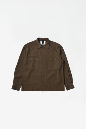 Offset placket shirt workwear cotton twill bark