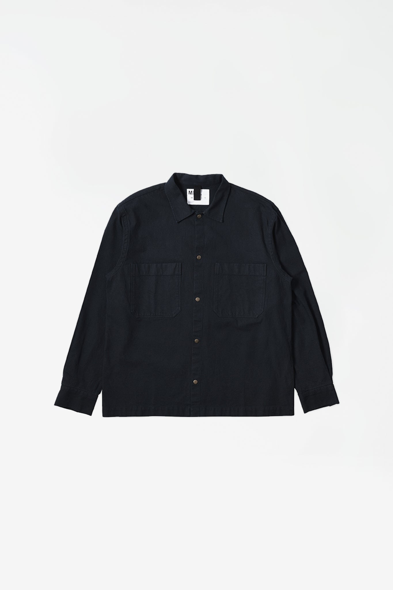 Offset placket shirt workwear cotton twill ink