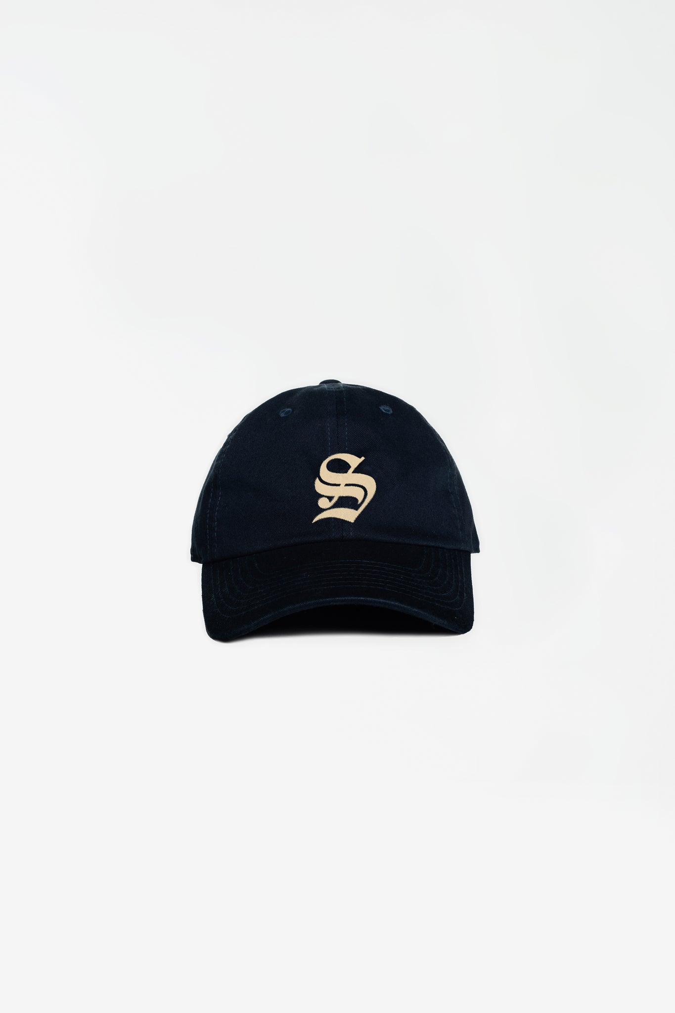 Old English S hat navy/cream embroidery