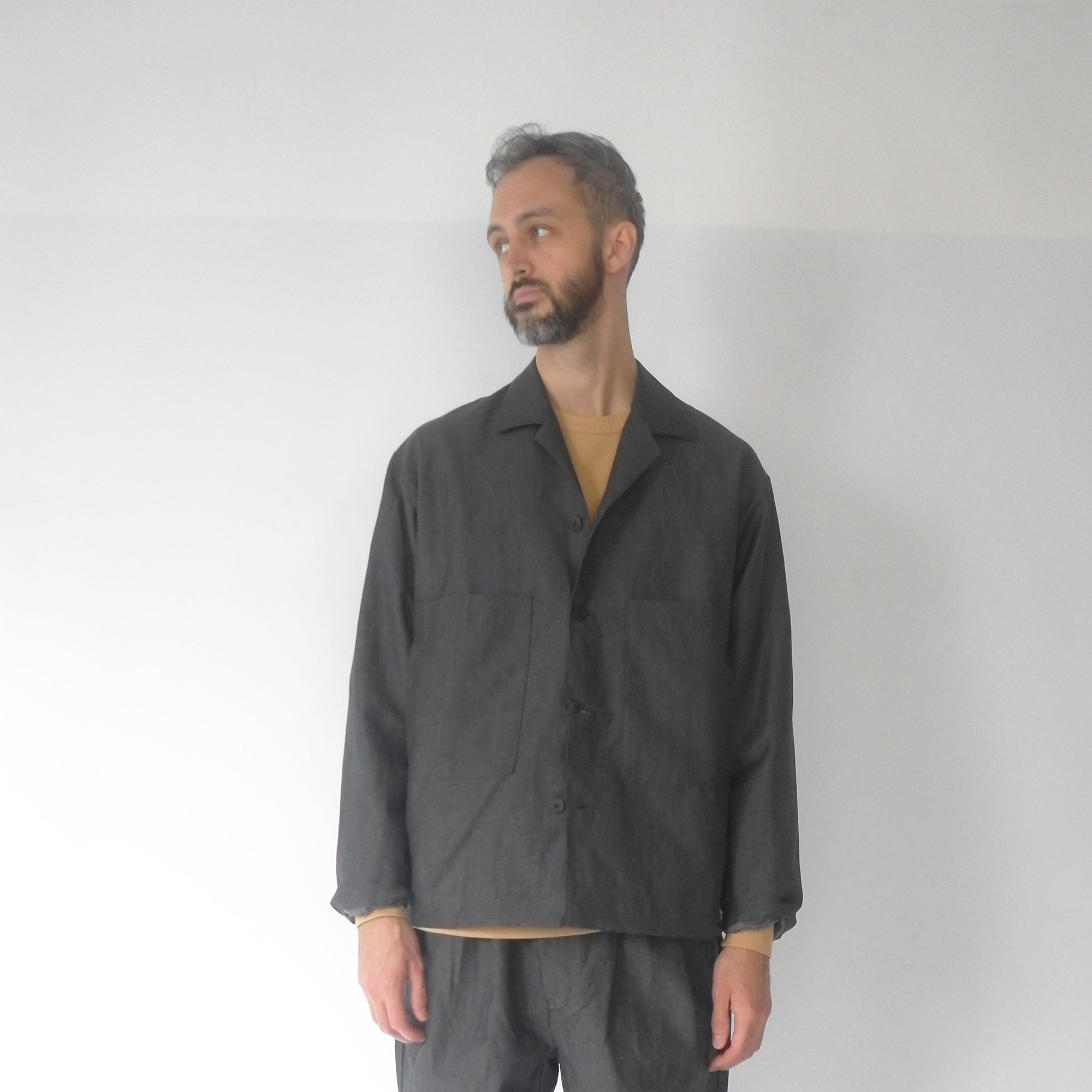 Open collar blouson charcoal