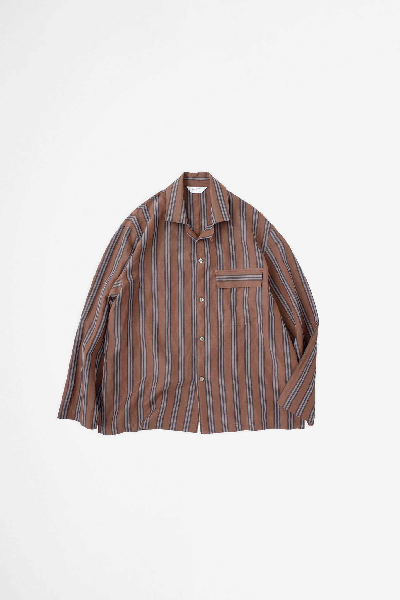Open collar coverall brown stripe