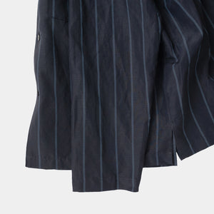 Open collar coverall navy stripe