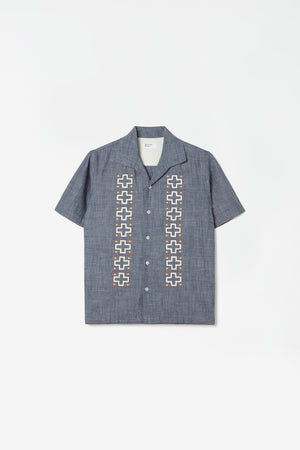 Open collar shirt indigo