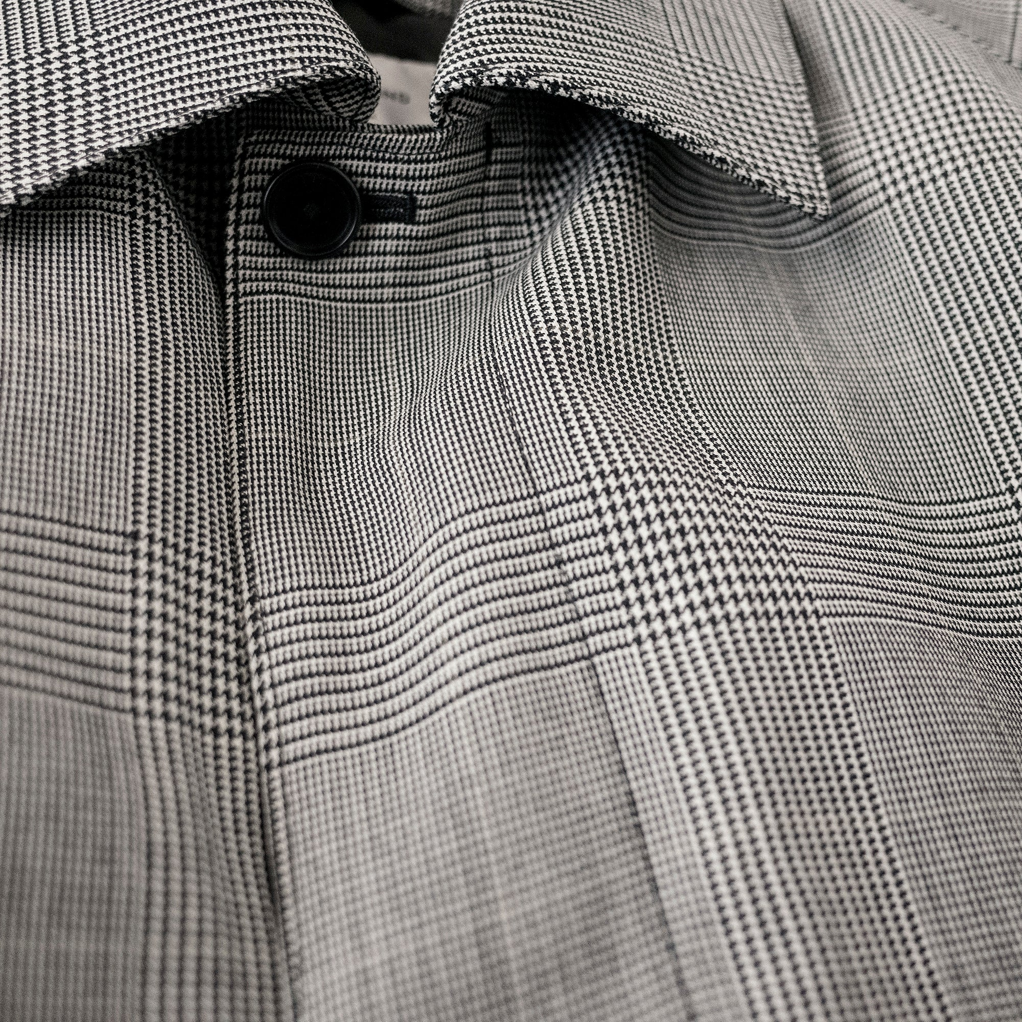 Original check bal collar coat grey check