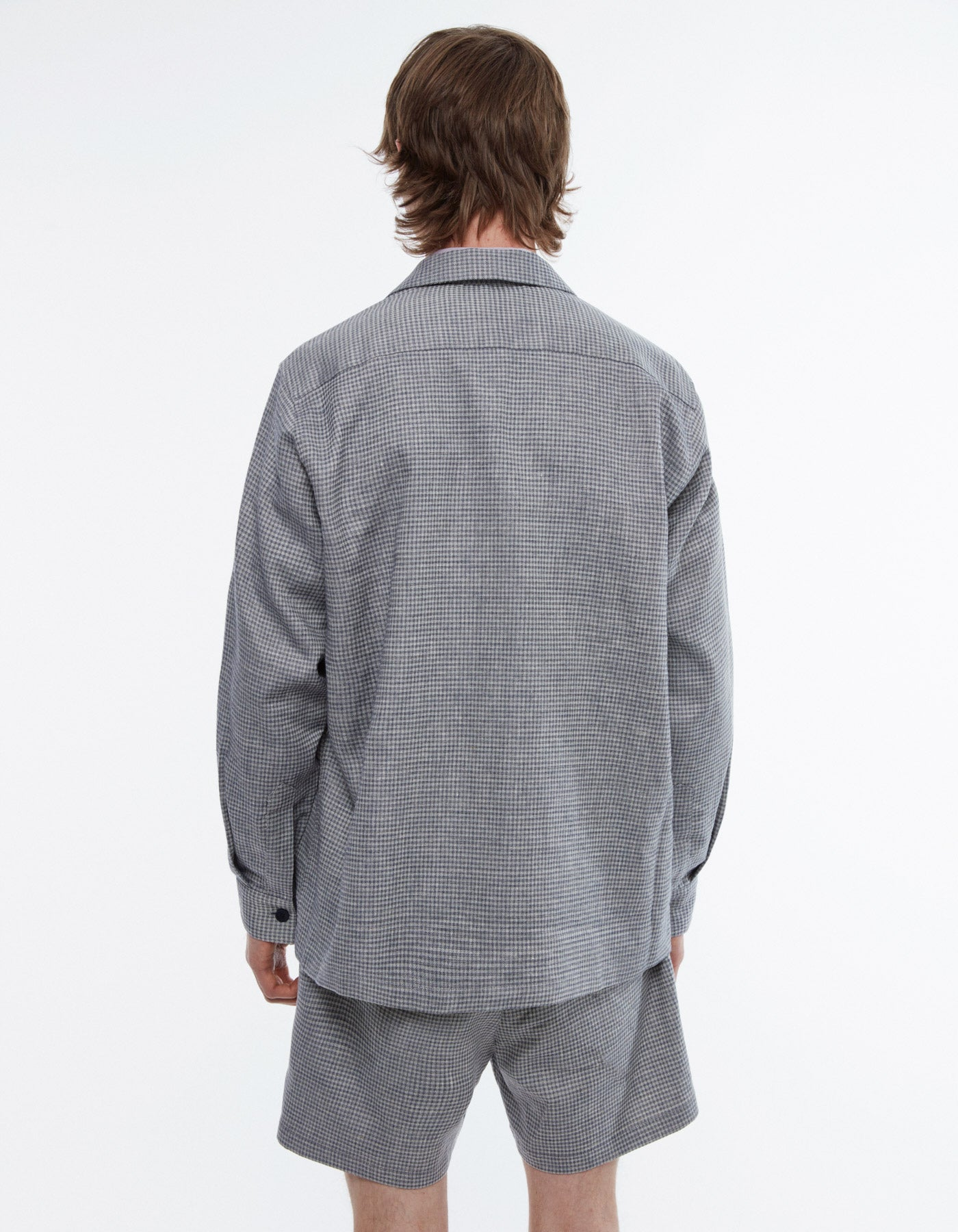 Overshirt boxy melange check blue/grey