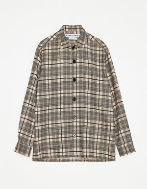 Overshirt wool mix check black and khaki