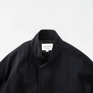 Oversize nylon mac coat black