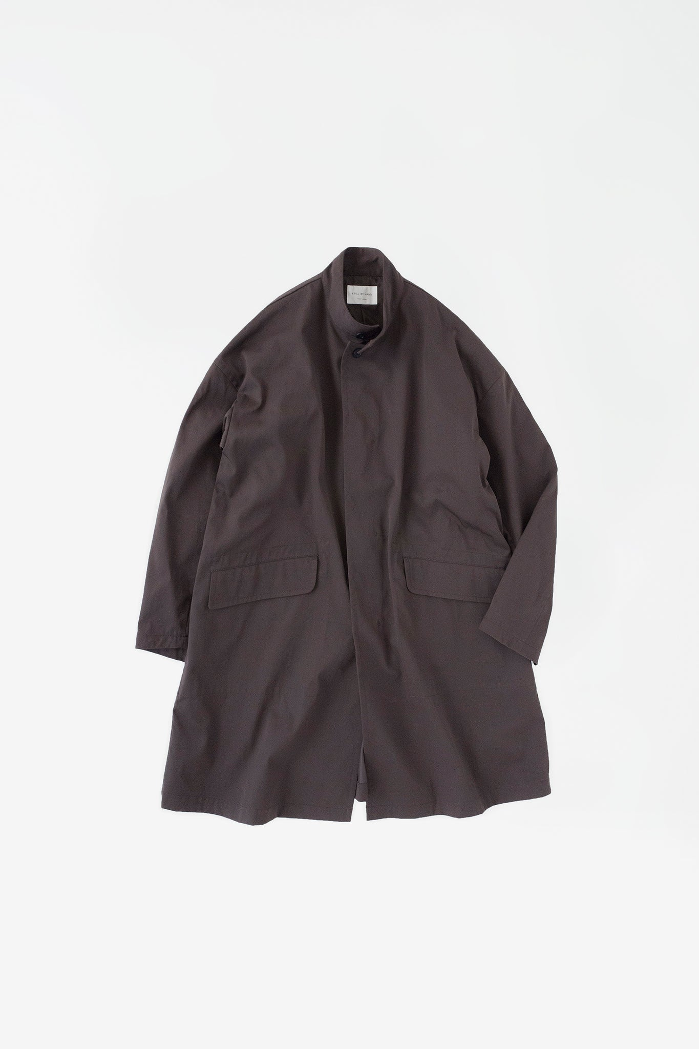 Oversize nylon mac coat brown