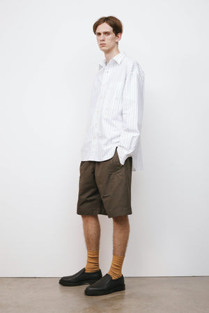 Oversized work shirt graphic stripe white/black