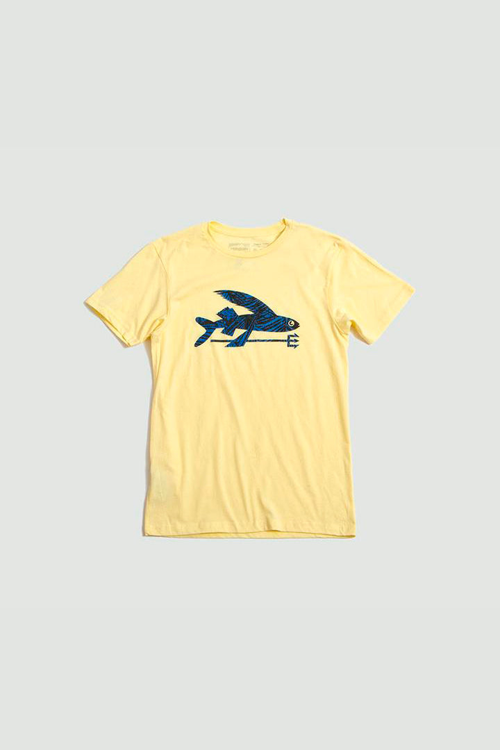 Mens flying fish t-shirt yellow