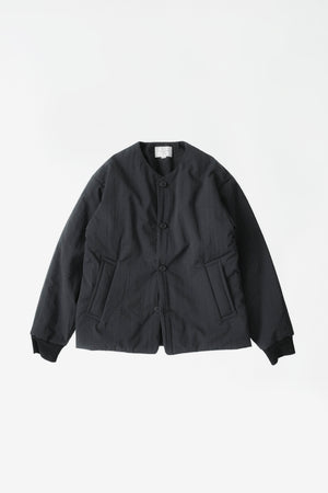 Padded no collar blouson black