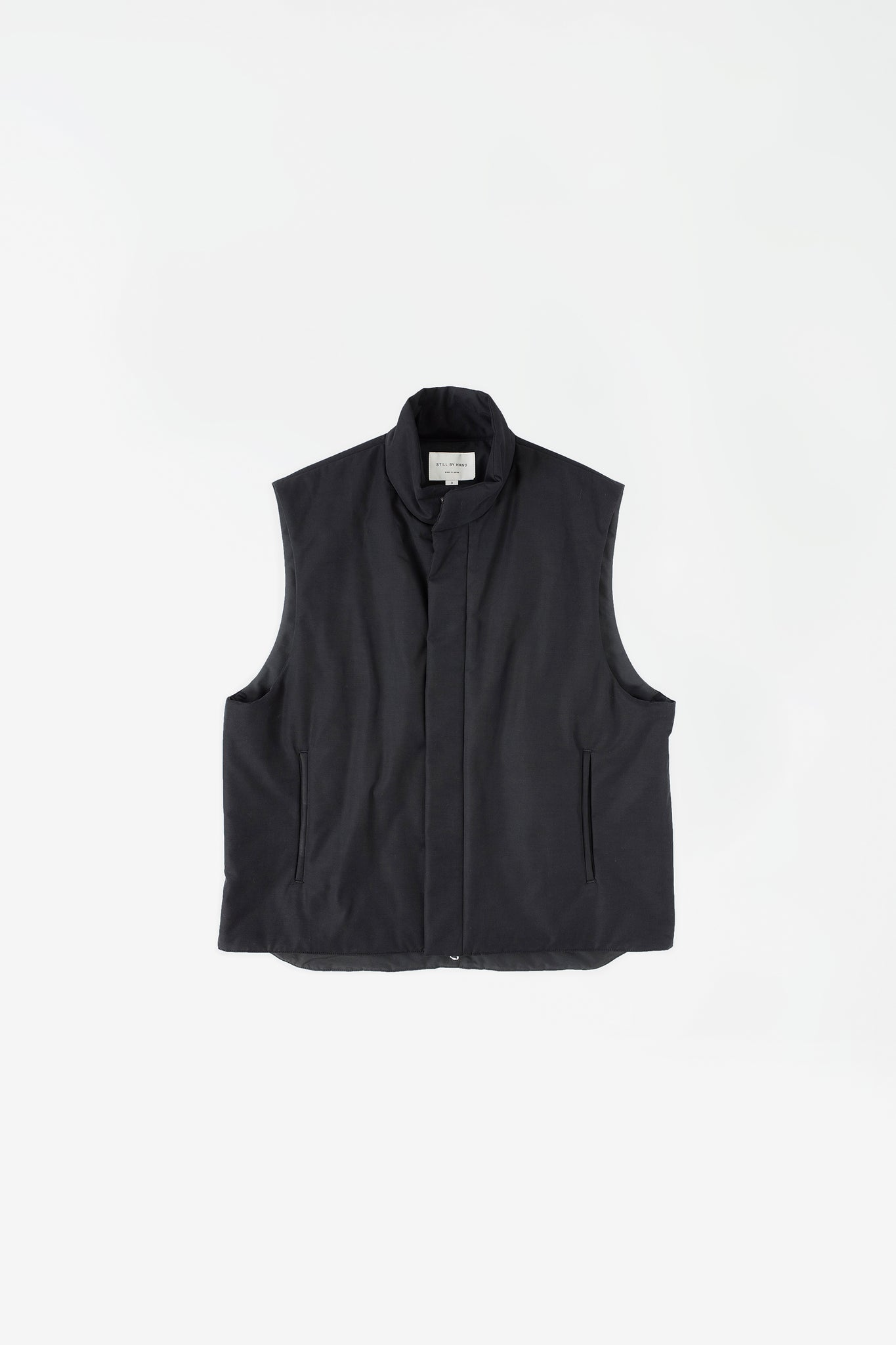 Padded stand collar vest black